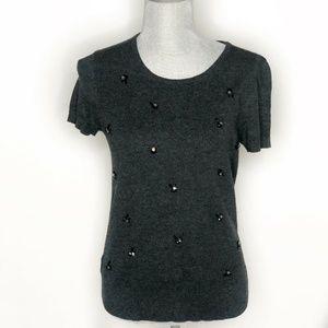 Loft Sweater Short Sleeve Crew Neck Jeweled (BB32)